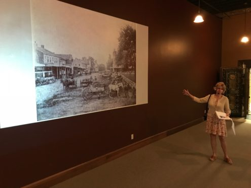 Julie Hansen shares history of the Iowa Buulding. Photo by Hailey Brown