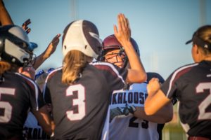 Abby Braundmeier celebrates after a three-run homer against Fairfield on Saturday night.