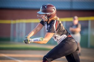 Anna Jones with a single against Fairfield on Saturday night.