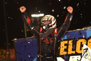 "Logan Schuchart celebrates his win on ""Hard Knox"" Night at Knoxville (Paul Arch Photo)"