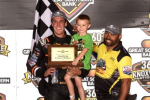 Carson Macedo celebrates his win on Night #2 of the 360 Nationals with Jaxx Johnson (Paul Arch Photo)