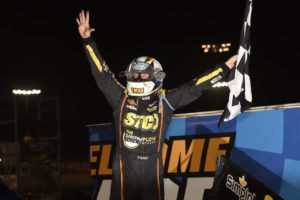 Terry McCarl celebrates his fifth Knoxville 360 Nationals championship Saturday (Paul Arch Photo
