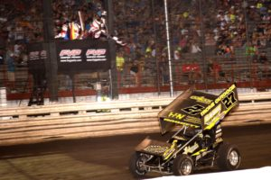 Greg Hodnett crosses the finish line to win Night #1 of the Knoxville Nationals Wednesday (Paul Arch Photo)