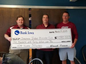 Bank Iowa donated $10.00 for every home 3 Pointer for Oskaloosa Boys & Girls Basketball.  In the picture is James Feudner, Bank Iowa Regional President, Gary Gordon is President of Booster Club, and Chris Roach is Booster Club VP.