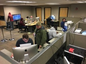 WPU Digital Communication students and staff produced the live stream coverage during the wrestling tournament from the Musco Technology Center on the Oskaloosa campus. Five-hundred unique streams were accessed during the live event. Photograph Courtesy of: Digital Communication Facebook