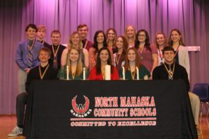 North Mahaska High School inducted 12 new members into the school's National Honor Society. Seated are current members from left, Matthew Goemaat, Macy Moore, Ronnie Layman, Emily Sampson and Ty Kelderman. New members include juniors Chase Grandia, Anthony Goemaat, senior Elizabeth Doane, juniors Gracee Chandler, Kaitlyn Van Donselaar, Morgan Hudson and Carlie Scholtus. Back row: Juniors Sean Knockel, Garrett Lamb, Lexi Van Utrecht, and Alyssa Scheihing. (submitted photo)